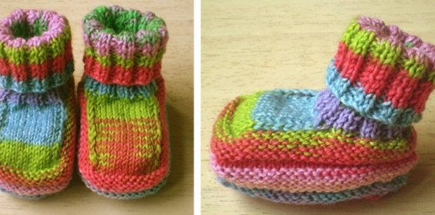 Colorful Knitted Baby Booties Free Knitting Pattern