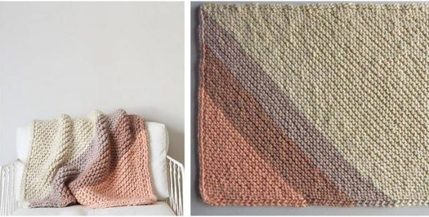 Colorful Corner Knitted Blanket Free Knitting Pattern