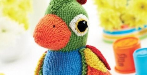 Colorful Knitted Parrot Soft Toy Free Knitting Pattern