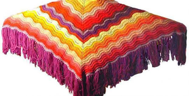 Knitted Comfort Shawl With Feather And Fan Pattern Free Pattern