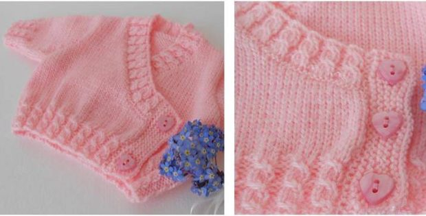Corsage Heart Knitted Baby Cardigan Free Knitting Pattern