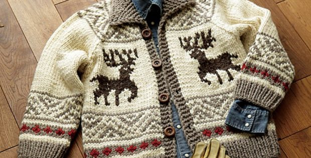 Cowichan Knitted Reindeer Jacket [FREE Knitting Pattern]