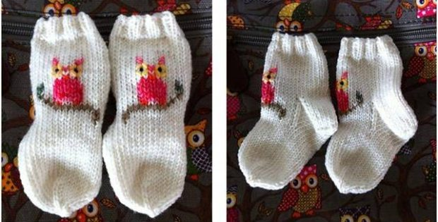 cozy knitted baby owl socks | the knitting space