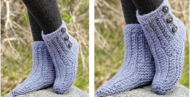 cozy buds knitted slippers | the knitting space