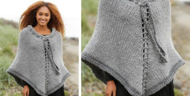 Cozy Cover Knitted Poncho Free Knitting Pattern