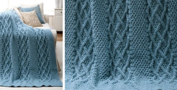 Cushy Cables Knitted Afghan Free Knitting Pattern