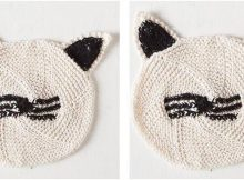 cute cat face knitted dishcloth | the knitting space