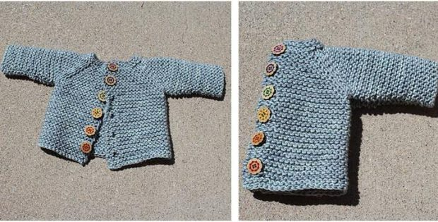 Cute Knitted Vanilla Baby Cardigan Free Knitting Pattern