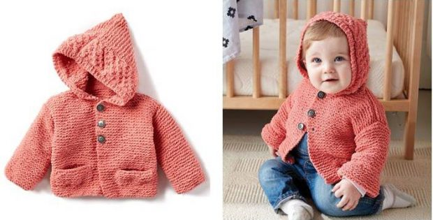 7249f10aa Cutesome Knitted Baby Hoodie  FREE Knitting Pattern