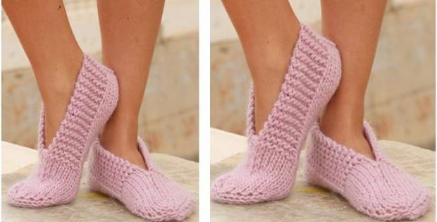 dainty knitted pink slippers | the knitting space