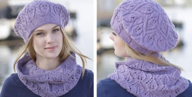 Dancing Leaves Knitted Cowl And Hat [FREE Knitting Pattern]