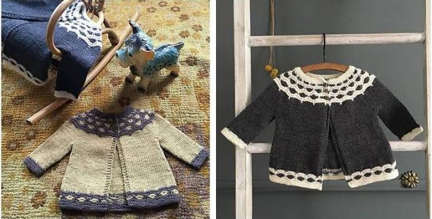 5adccbcb2 Darling Mabel Knitted Baby Cardigan  FREE Knitting Pattern