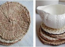 delightful calla knitted coaster set | the knitting space