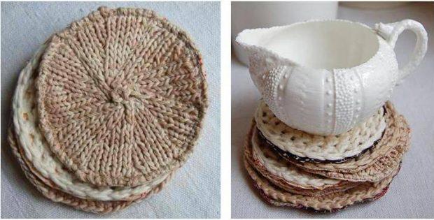 Delightful Calla Knitted Coaster Set Free Knitting Pattern