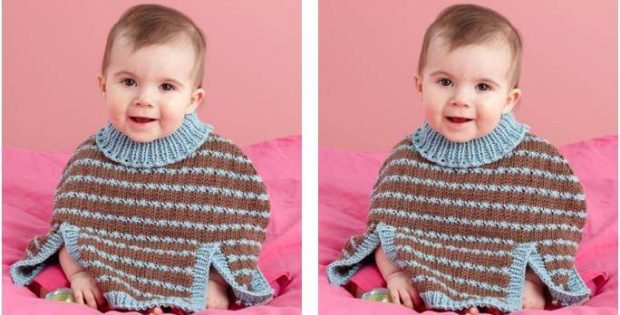Delightful Knitted Baby Poncho [FREE Knitting Pattern]