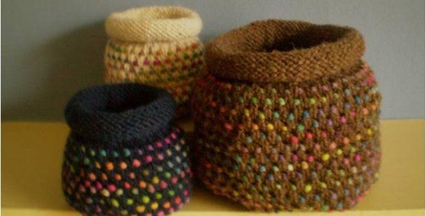 Delightful Knitted Dotty Pots Free Knitting Pattern