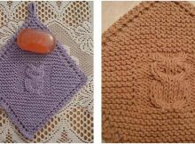 diagonal owl knitted dishcloth | the knitting space