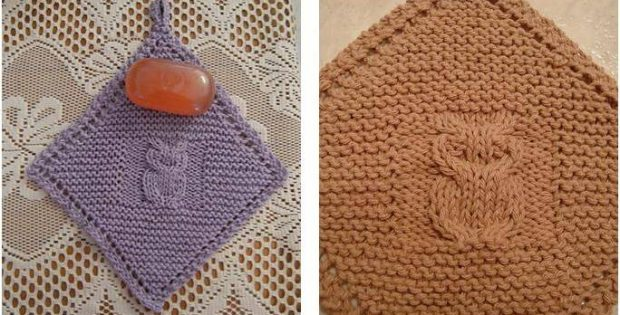 Diagonal Owl Knitted Dishcloth Free Knitting Pattern