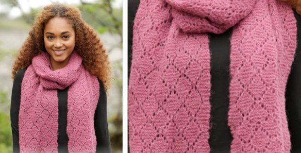 Diamonds Knitted Lace Scarf Free Knitting Pattern