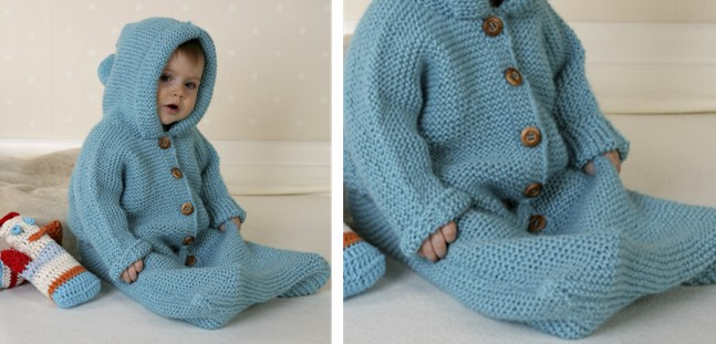 Dreamy Bluebell Knitted Baby Bunting Bag Free Knitting Pattern
