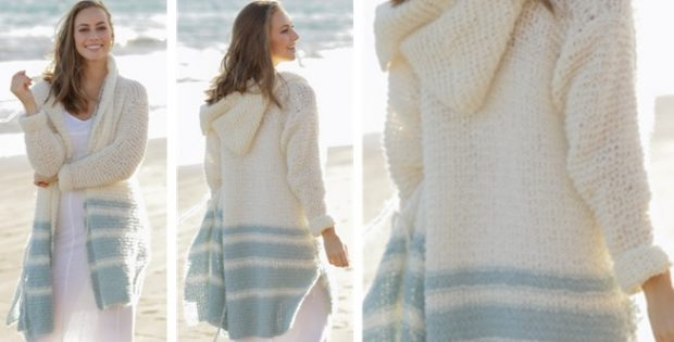 Driftwood Knitted Hooded Cardigan Free Knitting Pattern