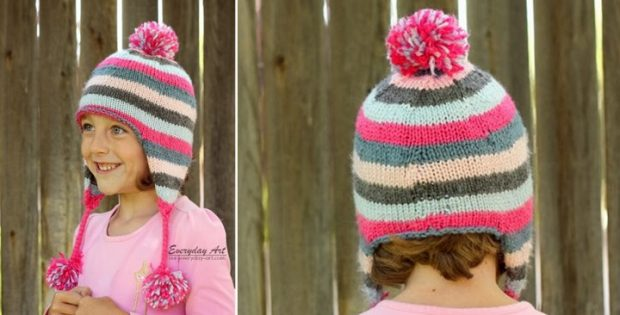 Knitted Striped Ear Flap Hat Free Knitting Pattern