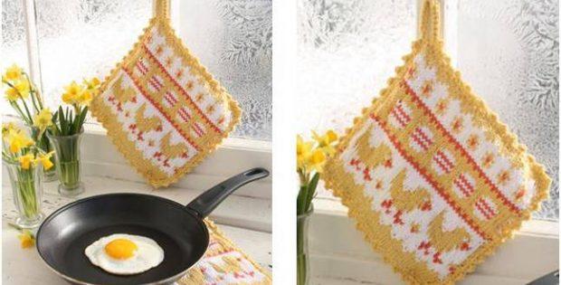 Easter Brunch Knitted Pot Holder Free Knitting Pattern