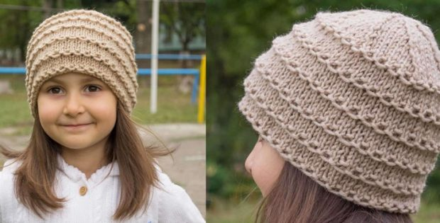 Stylish Knitted Ridge Beanie Free Knitting Pattern