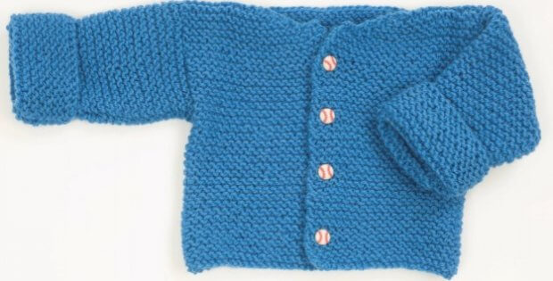 Easy Knitted Garter Stitch Baby Sweater Free Pattern