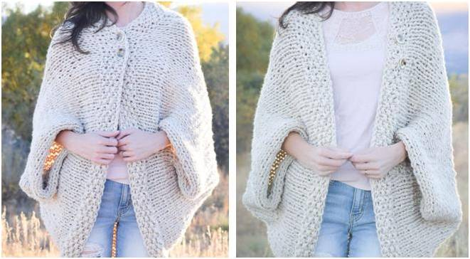 Easy Knitted Blanket Sweater Free Knitting Pattern