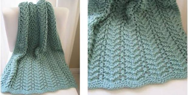 Easy Lacy Knitted Baby Blanket Free Knitting Pattern