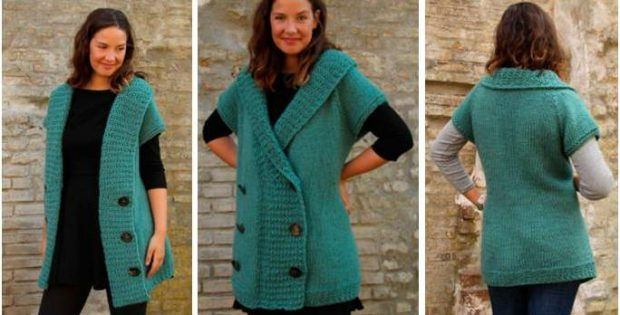 Endearing Edda Knitted Long Vest Free Knitting Pattern