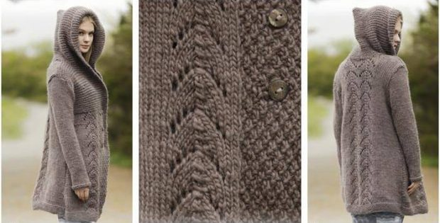 Enthralling Knitted Hooded Jacket Free Knitting Pattern