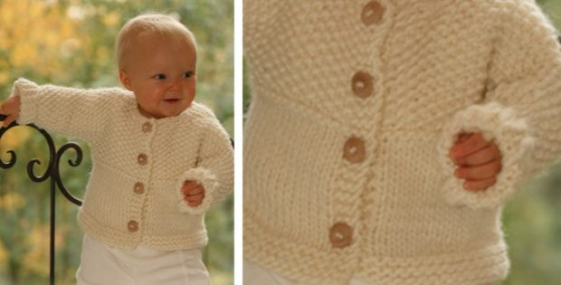 9f563708ec46 Eskimo Knitted Baby Cardigan  FREE Knitting Pattern