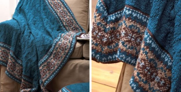 Fair Isle Border Knitted Blanket And Pillow [FREE Knitting Pattern]