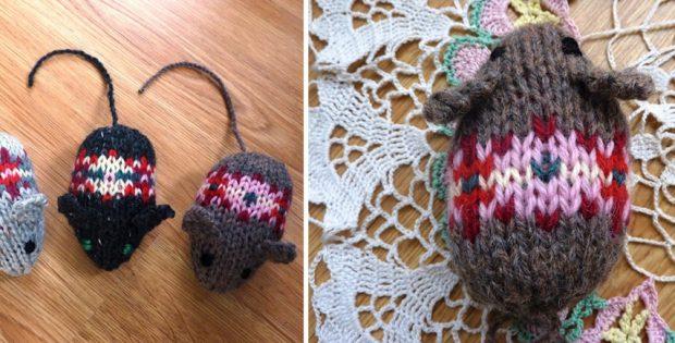 cute knitted Fair Isle mice | the knitting space