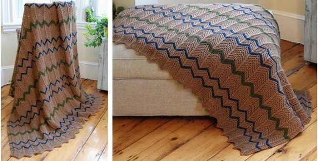 Farmhouse Knitted Afghan Free Knitting Pattern
