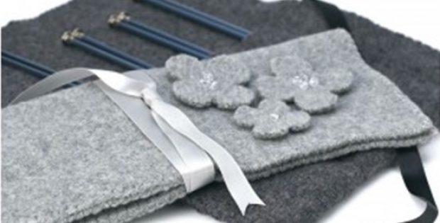 Stylish Felted Knitting Needle Case [FREE Knitting Pattern]