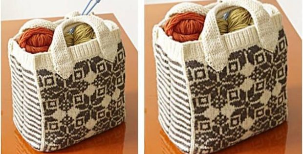 Felted Snowflake Knitted Tote Free Knitting Pattern