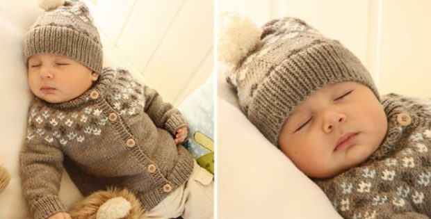 9ddac863c8a5 First Snow Knitted Baby Cardigan And Hat  FREE Knitting Pattern