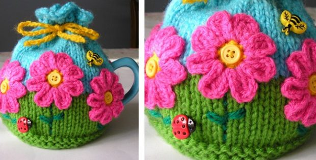 Flower Garden Knitted Tea Cozy Free Knitting Pattern