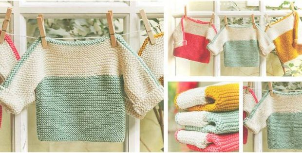 French Macaroon Knitted Baby Sweater Free Knitting Pattern