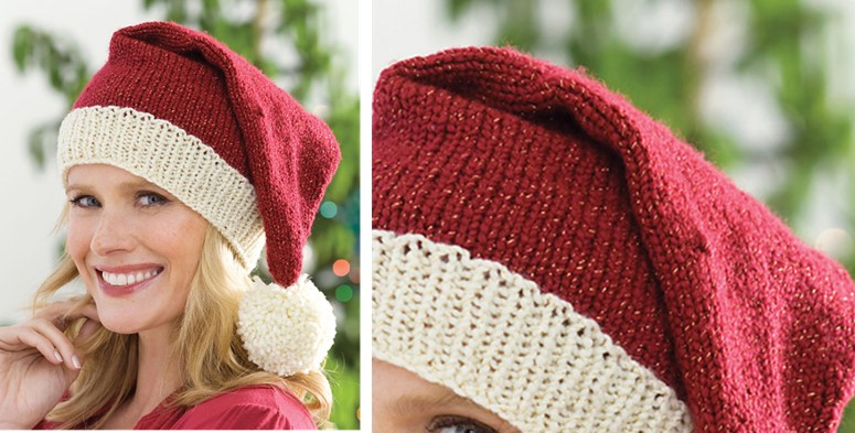 Fun Knitted Unisex Santa Hat FREE Knitting Pattern