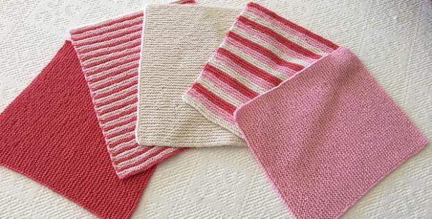 Knitted Garter Stitch Washcloths Free Knitting Pattern