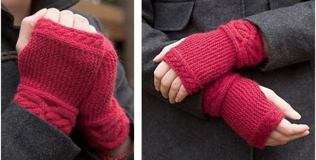 garter cable knitted wristlets | the knitting space