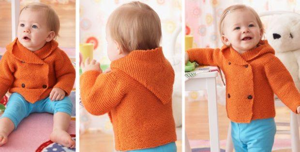 Knitted Garter Stitch Baby Hoodie [FREE Knitting Pattern]