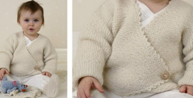 Knitted Garter Stitch Baby Jacket And Booties [FREE Pattern]