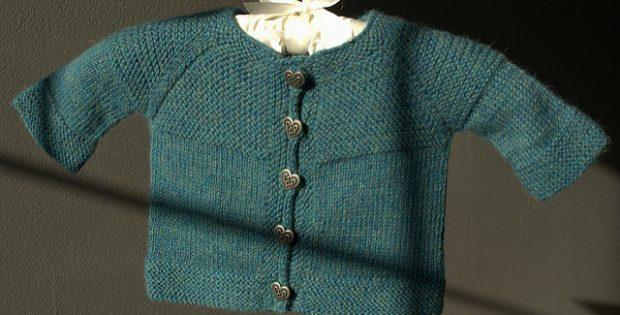 Knitted Garter Yoke Baby Cardigan Free Knitting Pattern