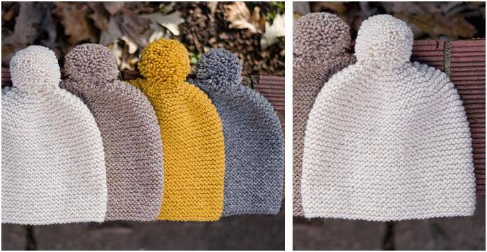 Gentle Garter Stitch Knitted Hat Free Knitting Pattern