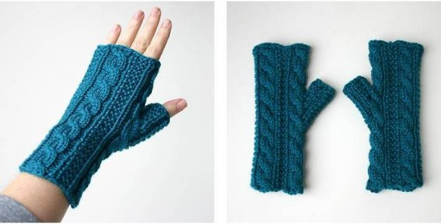 Gingerbread Icing Knitted Fingerless Gloves Free Knitting Pattern
